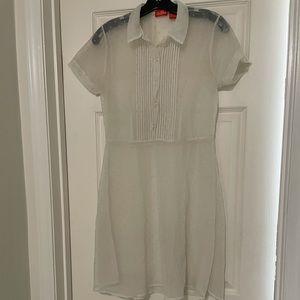 White vintage polka dot sheer dress